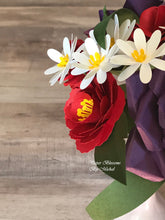 Load image into Gallery viewer, Red and White Paper Flower Bouquet
