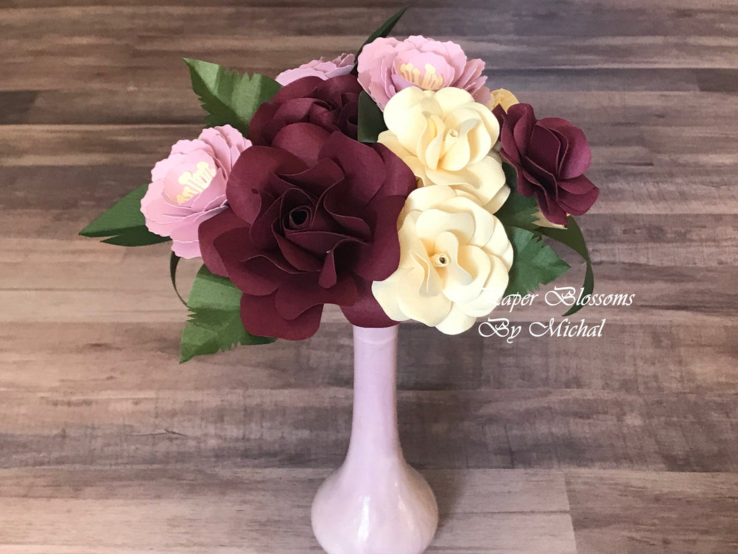 Mauve and Burgundy Paper Flower Bouquet
