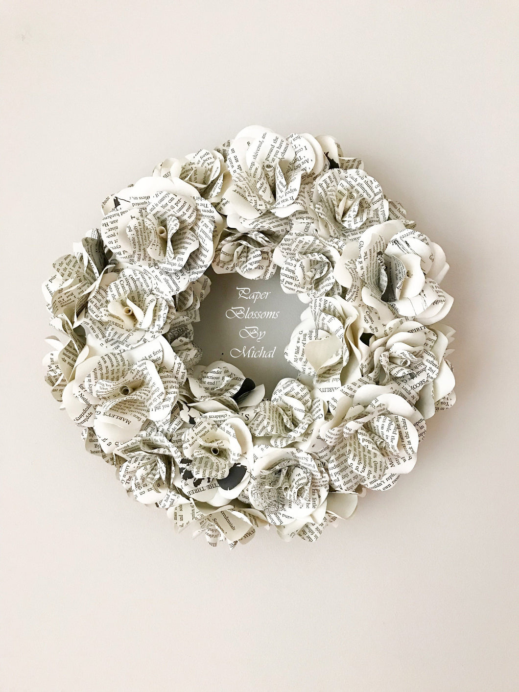 Book Page Paper Flower Wreath