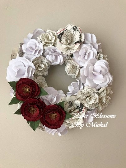 White and Book Page Paper Flower Wreath