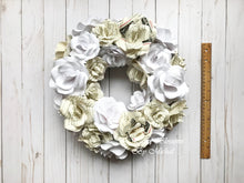 Load image into Gallery viewer, White and Book Page Paper Flower Wreath