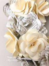 Load image into Gallery viewer, Cream Book Page Paper Flower Wreath