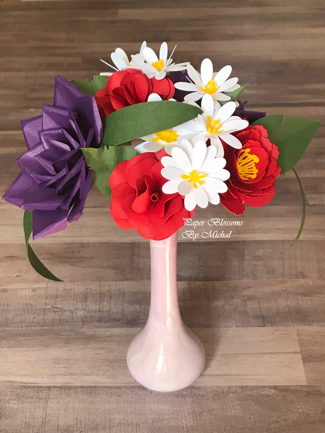 Red and White Paper Flower Bouquet