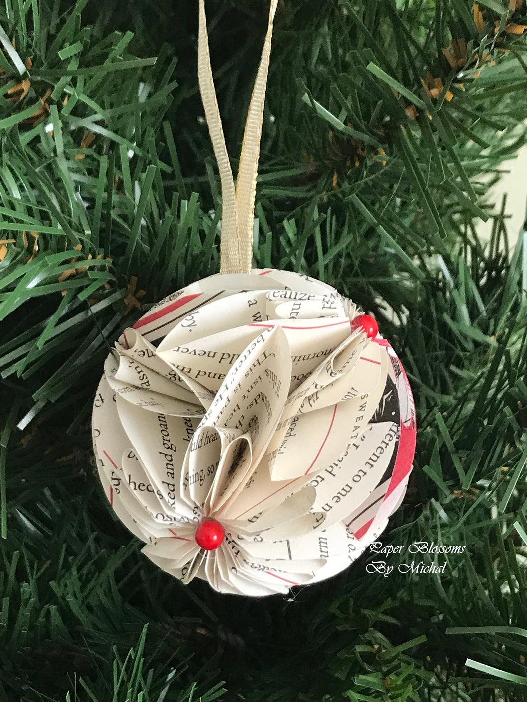 Christmas Tale Book Page Paper Christmas Ornament