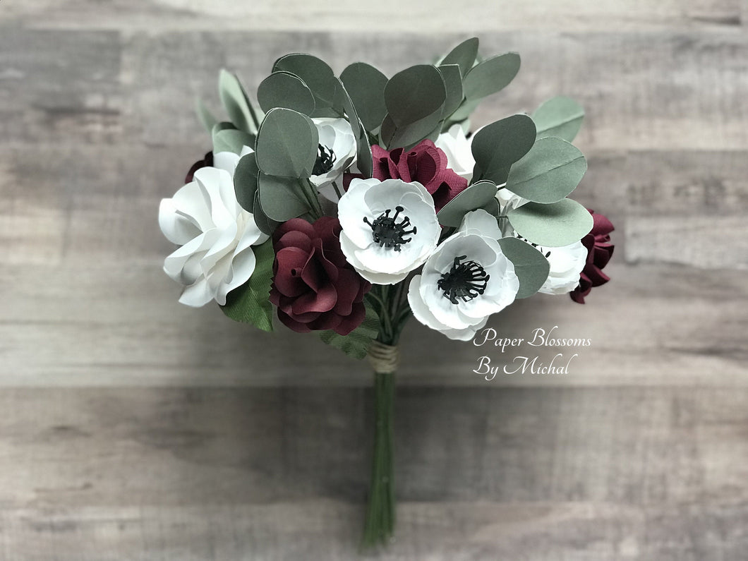 Burgundy and White Paper Flower Bouquet