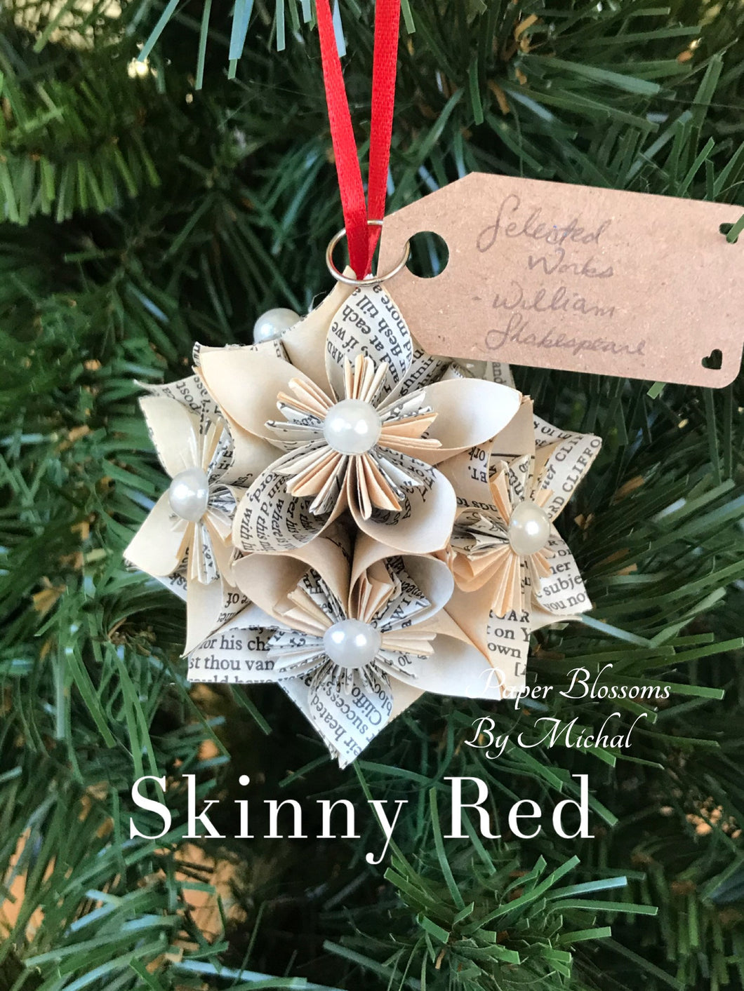 Shakespeare Book Page Christmas Ornament: Kusudama