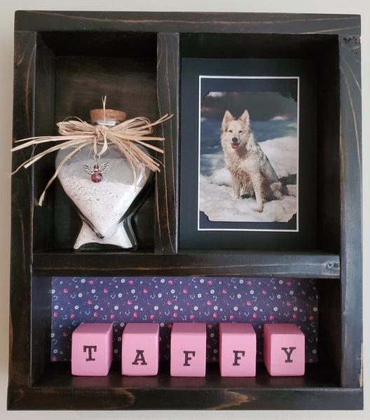 Pet Memorial Shadow Box for 1 Pet - Black stain