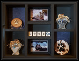 Pet Memorial Vertical Shadow Box for 2 Pets - Black stain