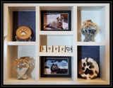 Pet Memorial Vertical Shadow Box for 2 Pets - Grey stain