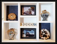Pet Memorial Vertical Shadow Box for 2 Pets - White paint