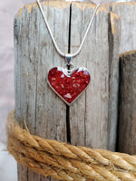 Stunning handmade sterling silver heart memorial pendant inlaid with ashes