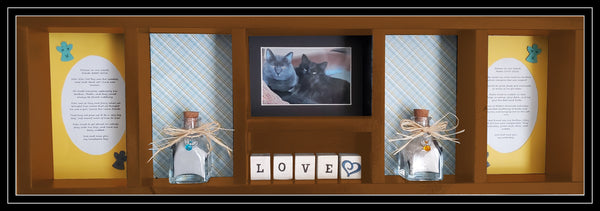 Pet Memorial Horizontal Shadow Box for 2 Pets - Brown stain