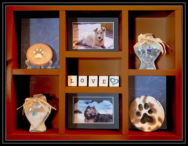 Pet Memorial Vertical Shadow Box for 2 Pets - Brown stain