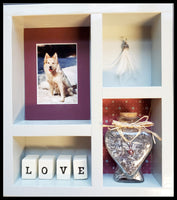 Pet Memorial Shadow Box for 1 Pet - White stain