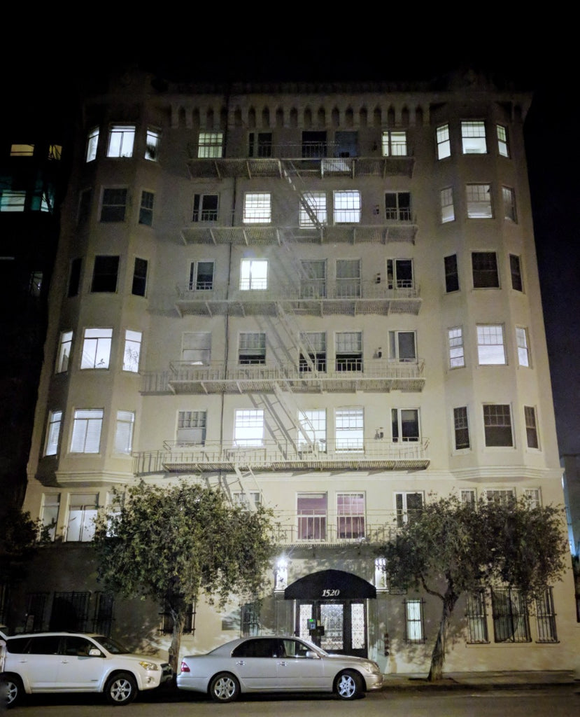 Apartment building in San Francisco at night