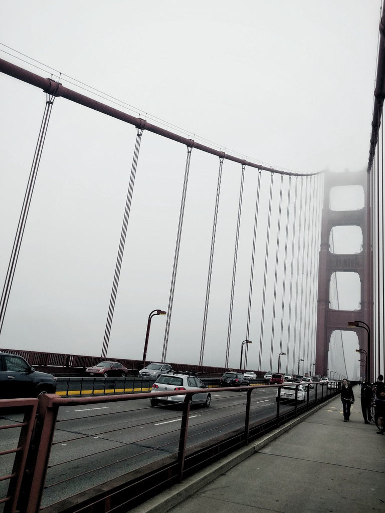 Walking on the Golden Gate Bridge on a foggy day