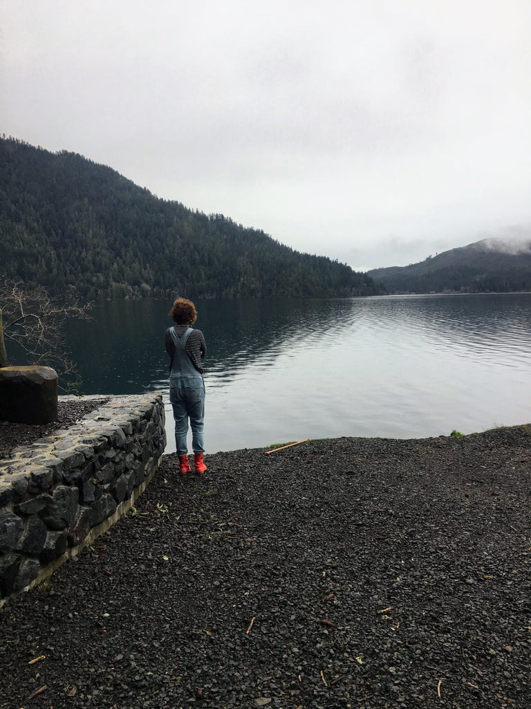 The artist looks over a lake on a cloudy day