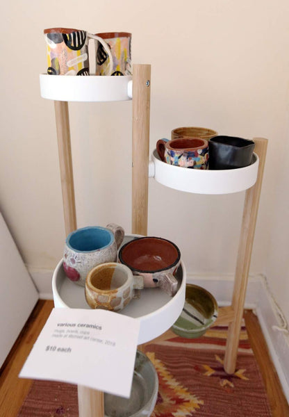 Ceramics I made displayed in a plant stand