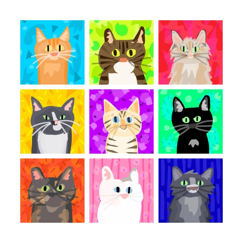 Grid of 9 Cats
