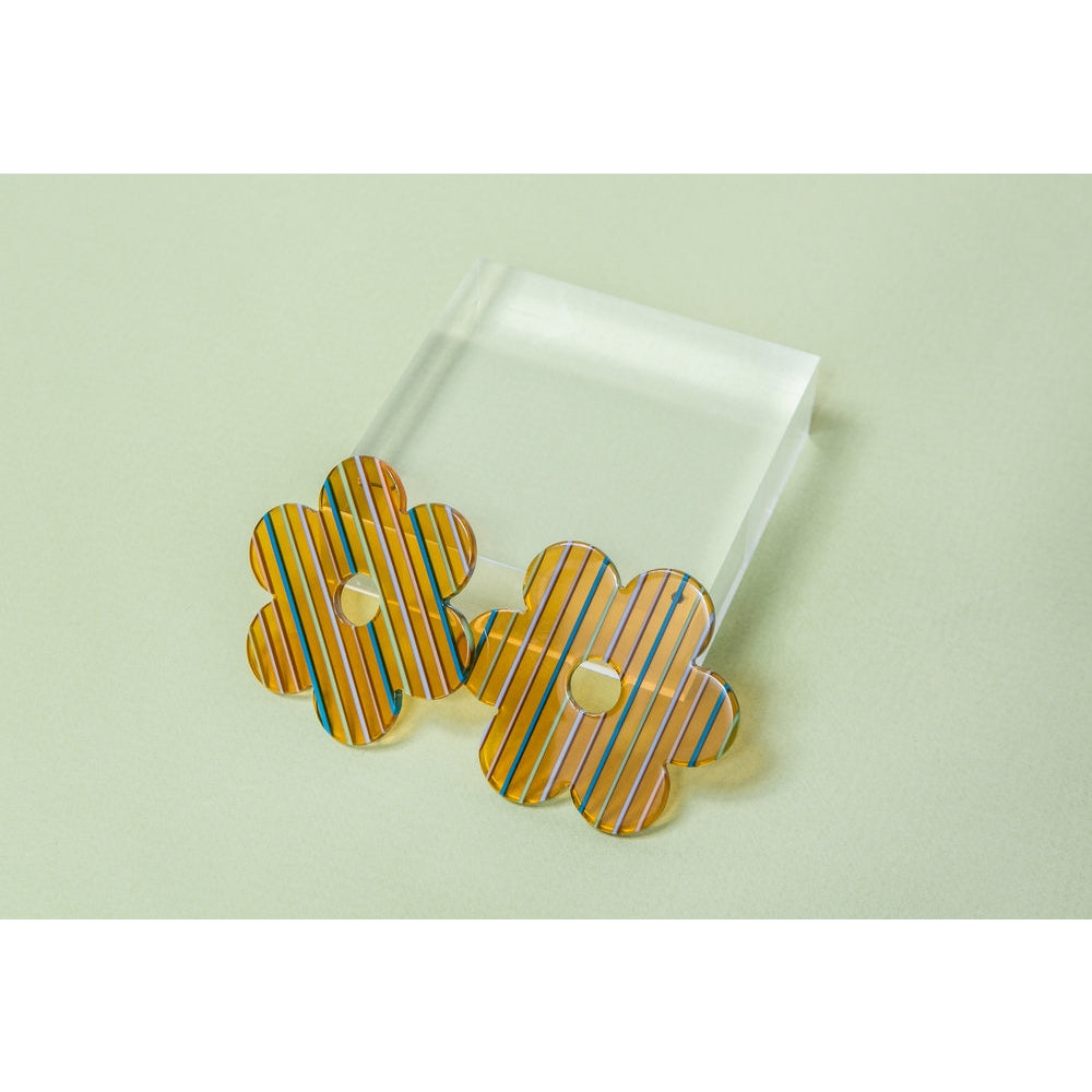 Amber Stripe Acetate Daisy Earrings