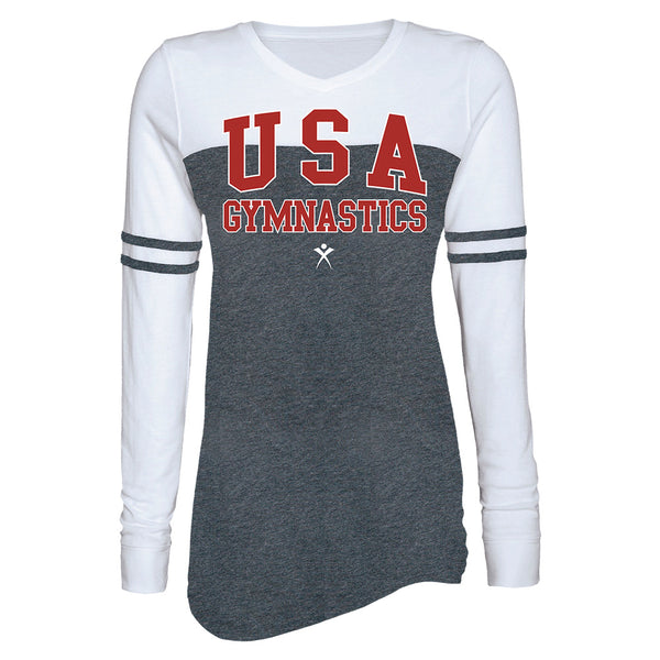 Ladies USA Gymnastics Long Sleeve T-Shirt