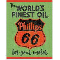 Tin Sign World's Finest Oil Phillips 66 for Your Motor 12.5x16 in