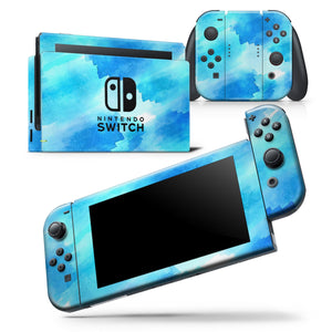 Abstract Blue Stroked Watercolour - Skin Wrap Decal for Nintendo