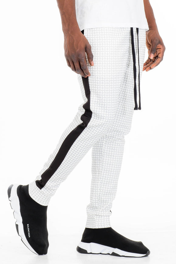 PATTERNED TRACK PANTS- WHITE