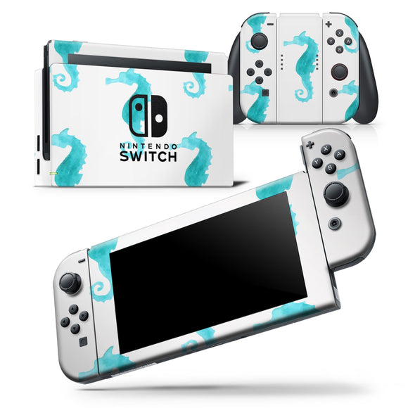 Blue Watercolor Seahorses - Skin Wrap Decal for Nintendo Switch Lite