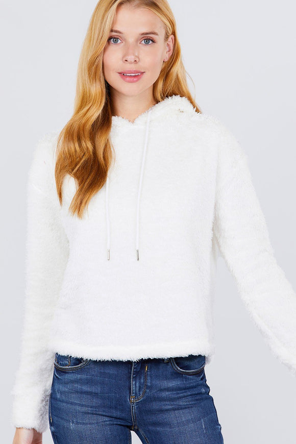 White Faux Fur Fluffy Hoodie Sweater Top