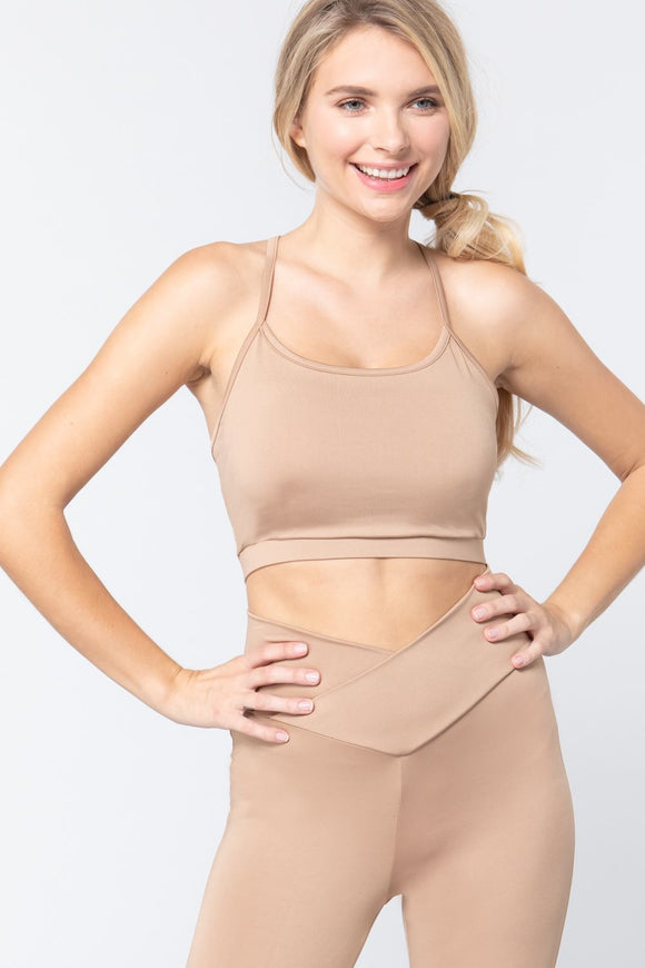 Light Khaki Workout Cami Bra Top