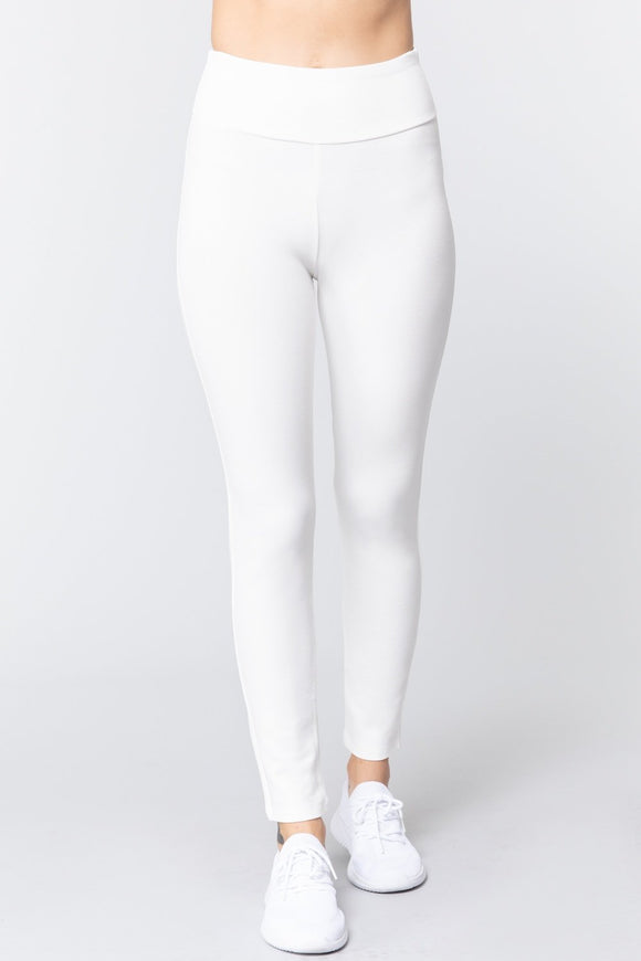 Off White Wide Waist Band Long Ponte Pants