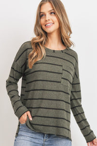 Striped Front Pocket Round Collar Long Sleeves Top