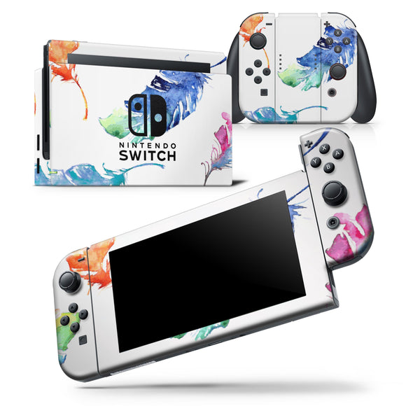 Colorful Watercolor Feathers - Skin Wrap Decal for Nintendo Switch