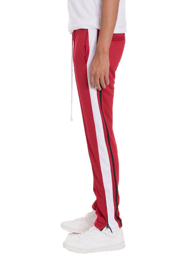 TRICOT STRIPED TRACK PANTS- RED