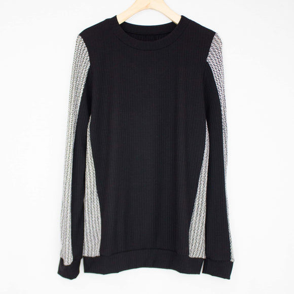 Round Neck Color Block Long Sleeve Top