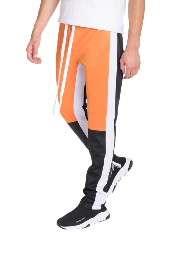 COLOR BLOCK TRACK PANTS- ORANGE/GREY