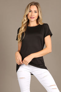 1301 Solid fitted, top with a round neckline, and short sleeves.