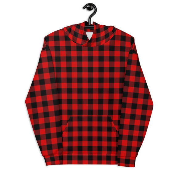 Unisex Hoodie Red Buffalo Plaid Christmas