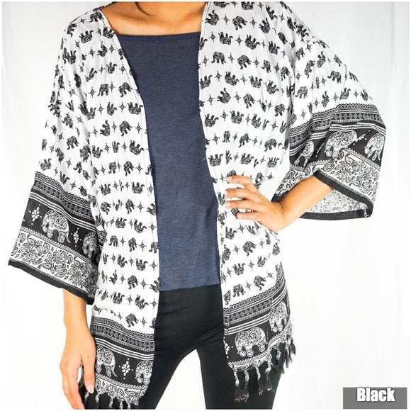 Elephant Tribal Boho Kimono Cover Up