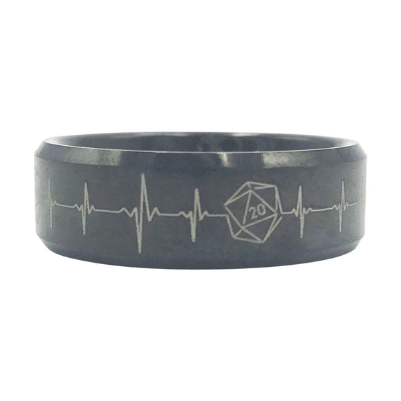 D20 Heartbeat Tungsten Ring