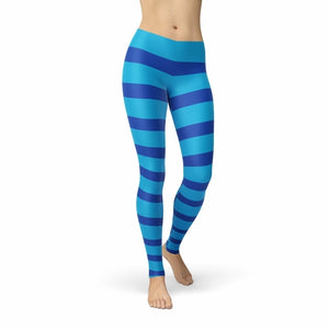 Blue Candy Cane Leggings