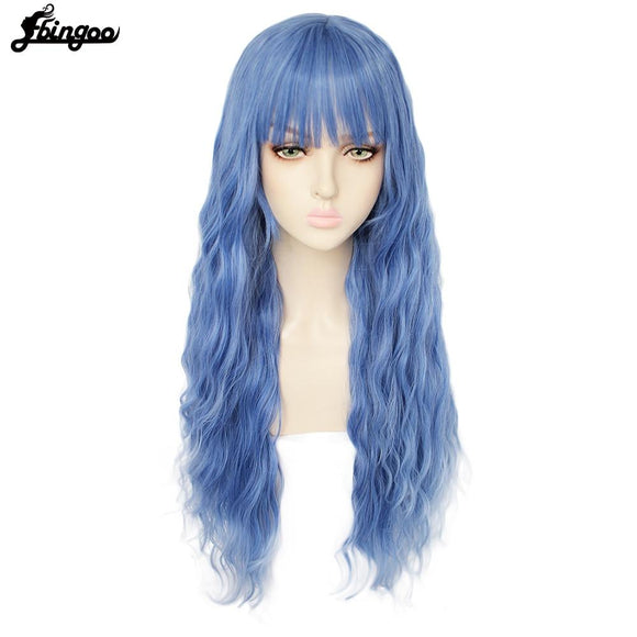 Long Deep Wave Blonde Pink Blue Black White Synthetic Wig with Neat