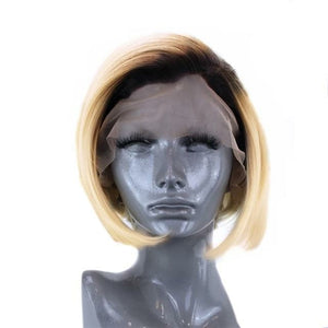 Short Straight Hair Synthetic Blonde Side Part Lace Front Wig  Heat
