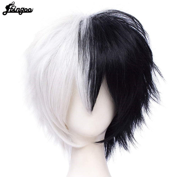 Anime Danganronpa Monokuma Wig White Black Synthetic Hair Costume
