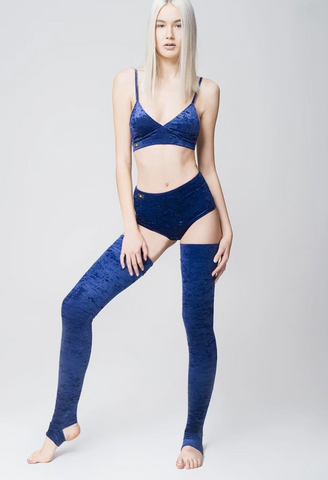Velvet leg warmers - Navy Blue