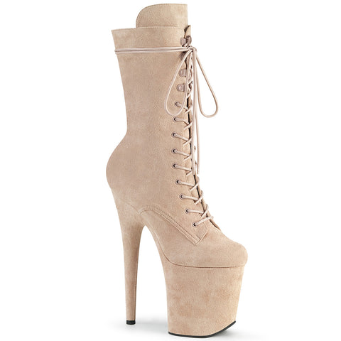 PLEASER USA BOOTS FLAMINGO 1050FS FAUX SUEDE 8 INCH - Nude