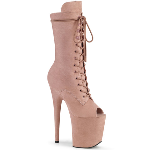 PLEASER USA BOOTS FLAMINGO 1051FS FAUX SUEDE 8 INCH - Dusty Blush