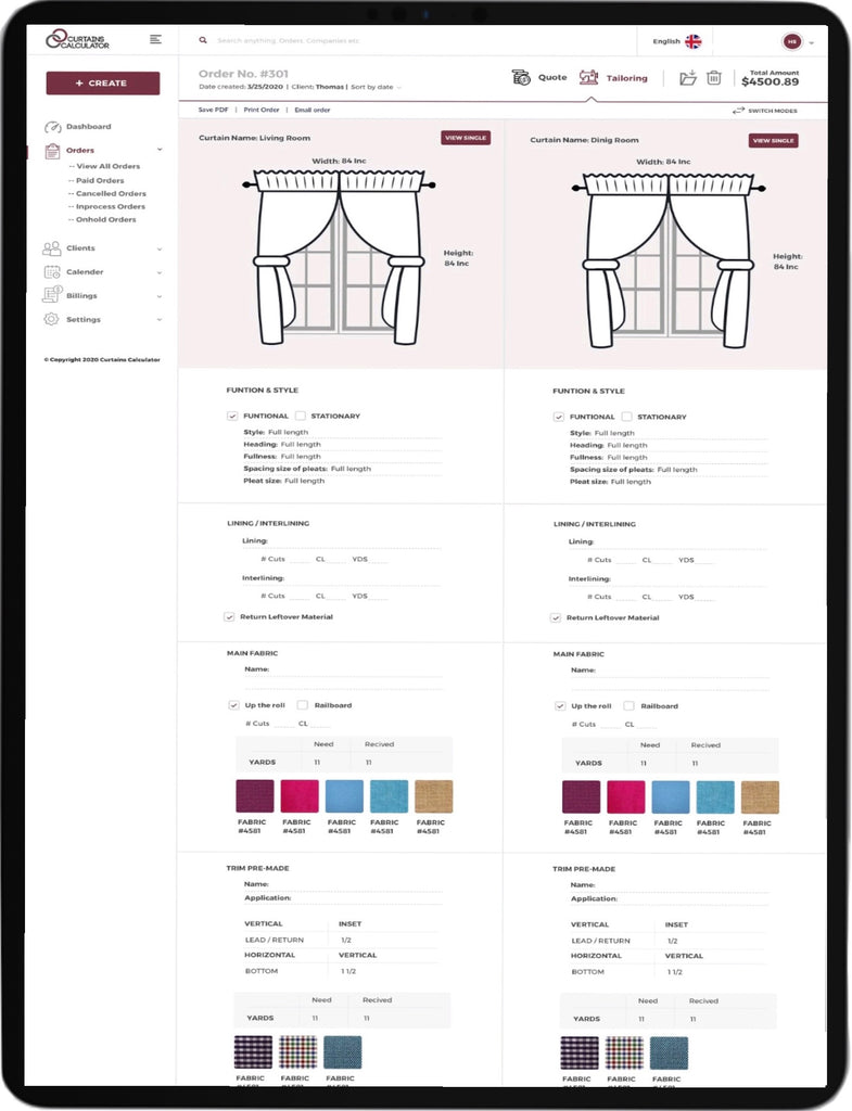 Workshop information for sewing shop Curtains Calculator application