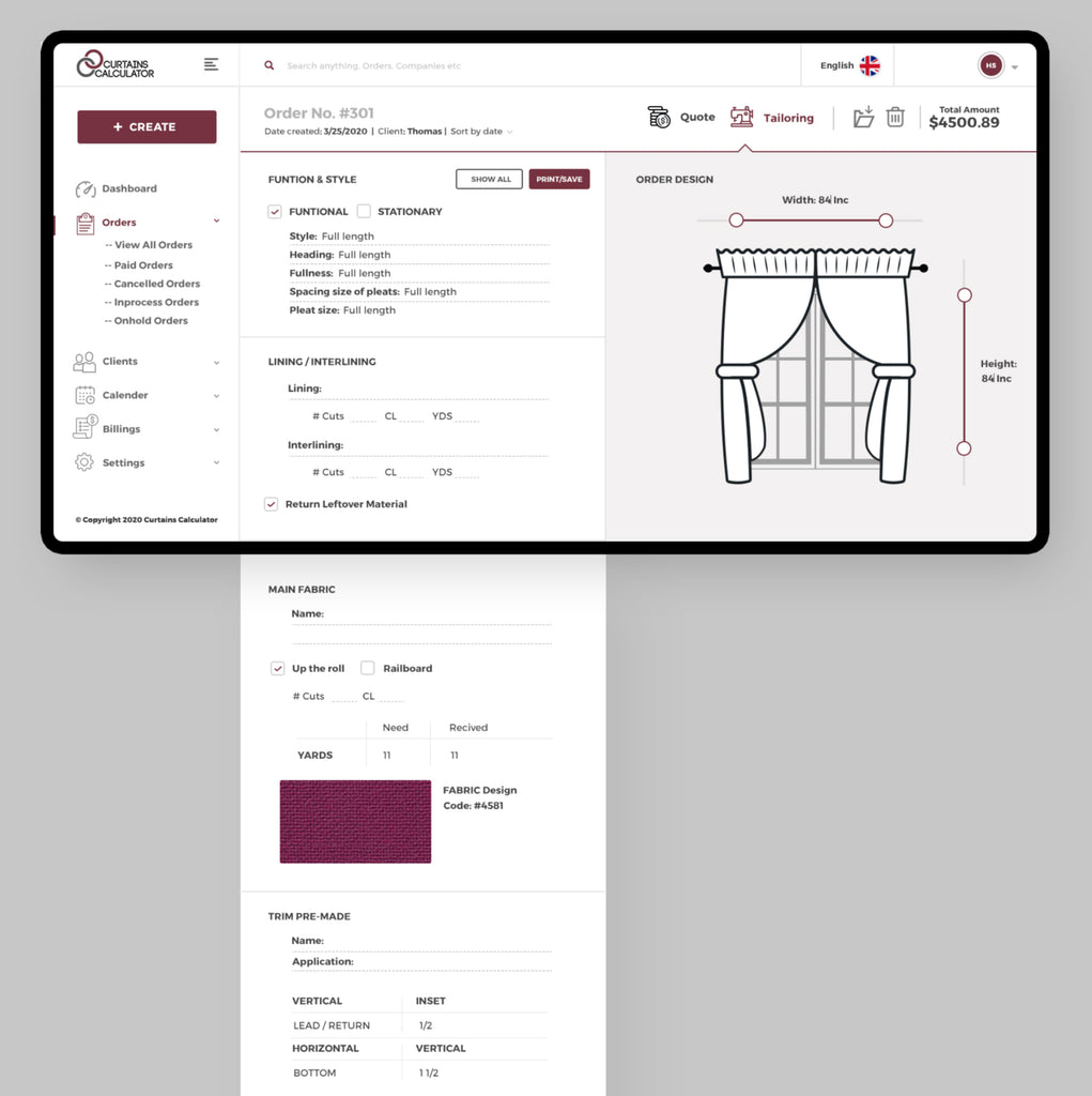 Curtains Calculator application for window covering businesses
